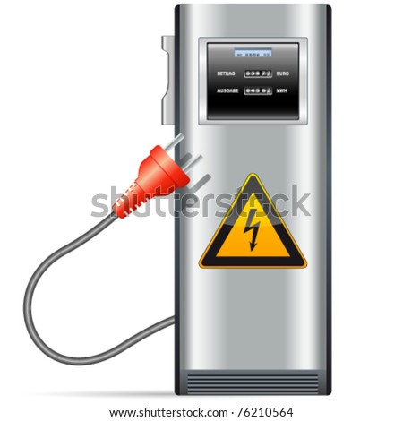 electric charging station for cars - stock vector
