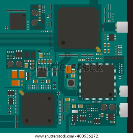 electric circuit board, various IC chips and electronic components, vector illustration - stock vector