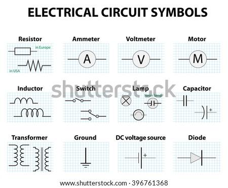 Electric Circuit Symbol Element Set Pictogram Stock-Vektorgrafik ...
