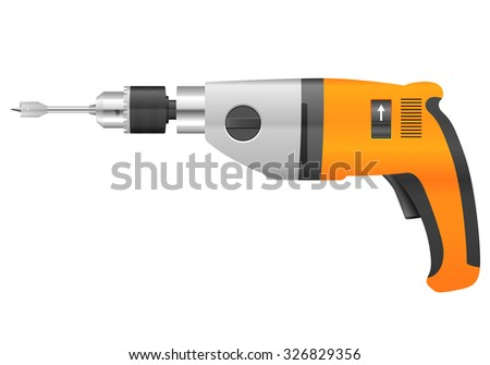 Electric drill and bit on a white background.