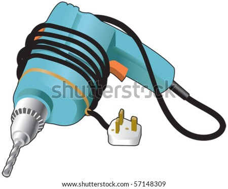 Electric drill and plug - stock vector