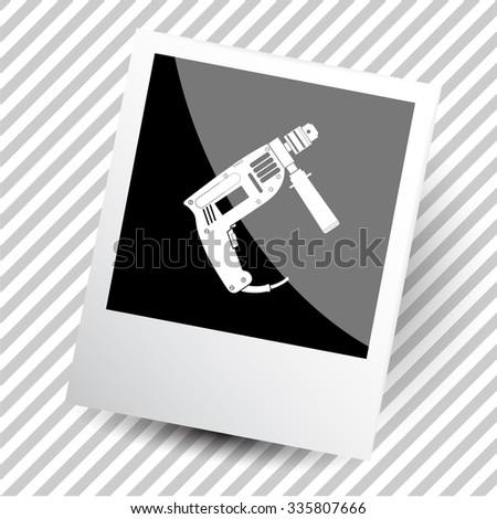 electric drill. Photoframe. Vector icon. - stock vector