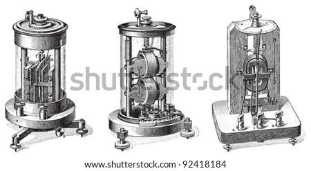 Electric dynamo meter / vintage illustrations from Meyers Konversations-Lexikon 1897 - stock vector