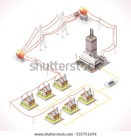 Electric Energy Distribution Chain Infographic Concept Isometric 3d Electricity Grid Elements Power Grid Powerhouse Supply City Buildings Houses Vector  - stock vector