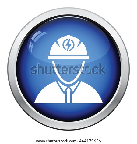 Electric engineer icon. Glossy button design. Vector illustration. - stock vector
