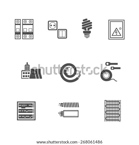 Electric equipment icons set. Pixel Perfect Flat Icons - stock vector
