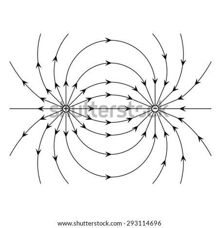 Electric field of a positive and a negative point charge vector  - stock vector