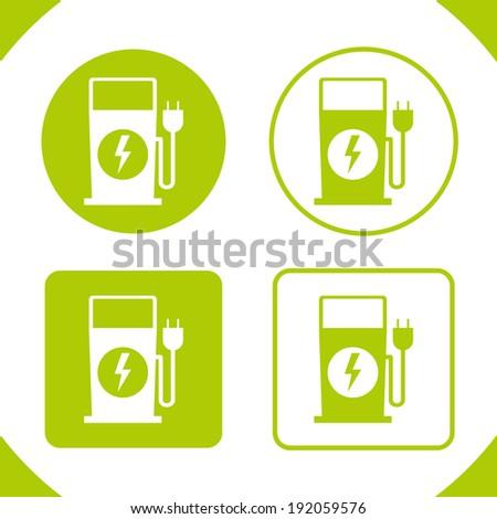 Electric Fuel Pump Recharging Badges (plug-in) - stock vector