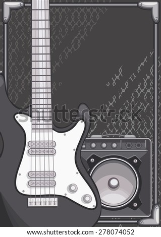 Electric guitar and amplifier on grunge background - stock vector