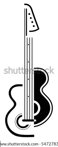 Electric guitar - black and white stylized vector illustration. Outline on white background. Can be used as symbol or emblem for your company. - stock vector