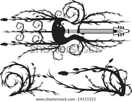 Musical Muse Electric Guitar Border Roots Stock Vector 14558302 ...