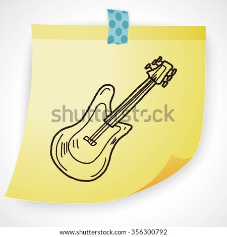 Electric guitar doodle - stock vector