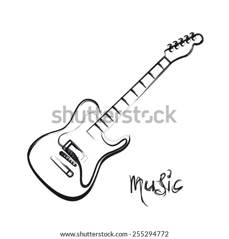 Electric Guitar hand drawn, easy all editable - stock vector
