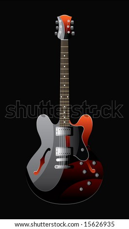 electric guitar of colour of the heated metal on a black background