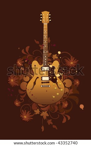 Electric guitar on a dark floral background