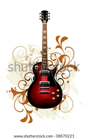 Electric guitar on a floral background - stock vector