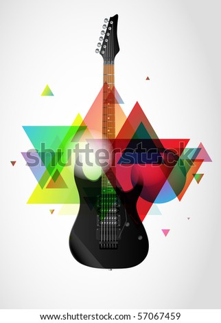 Electric guitar on abstract colorful background - stock vector