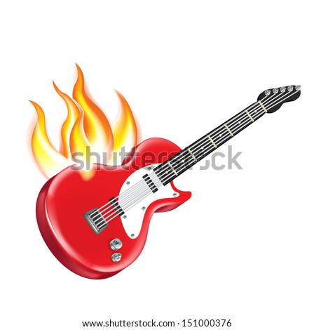 electric guitar on fire isolated on white  - stock vector