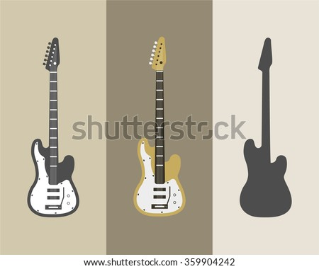 Electric guitar vector icons set. Guitar isolated icons vector illustration. Guitars isolated on white background. Music, concert, sound, fun, guitars. Vector guitars. Color, grey, silhouette guitars.