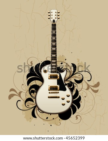Electric guitar with design elements on a dirty background - stock vector