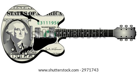 Electric Guitar with Dollar Bill Graphics on it - stock vector