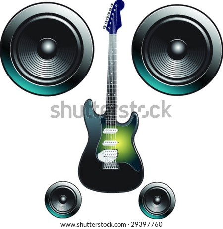 Electric guitar with speakers - stock vector