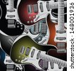 Electric guitars background, vector illustration - stock