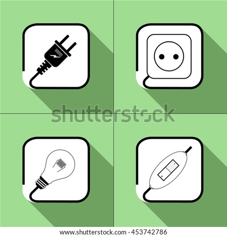 Electric icon. Socket, lamp, electric plug, switch, power icon. on a green background. Vector - stock vector