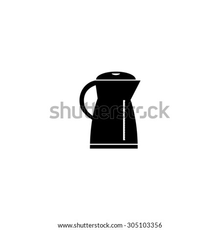 Electric kettle. Black simple vector icon