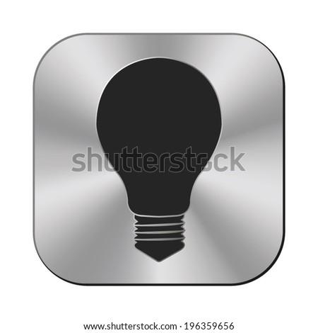 Electric lamp icon - vector metal button - stock vector