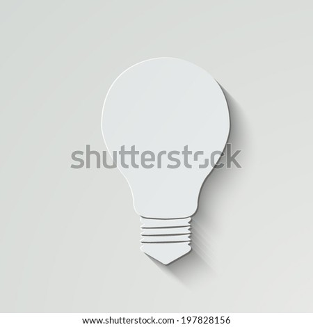 Electric lamp vector icon - paper illustration with shadow on light background - stock vector