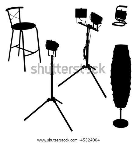 Electric lamps and chair isolated on white background - stock vector