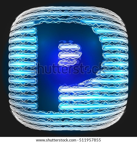 Electric Letter P Interlaced Lightning Font With Blue Letters On Black
