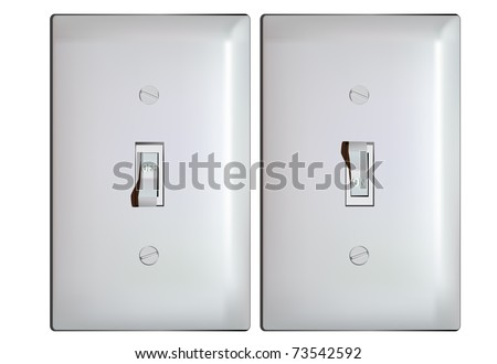 Electric light switch in ON and OFF positions -vector - stock vector