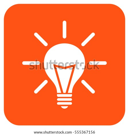 Electric Light vector icon. Image style is a flat icon symbol in a rounded square button, white and orange colors.