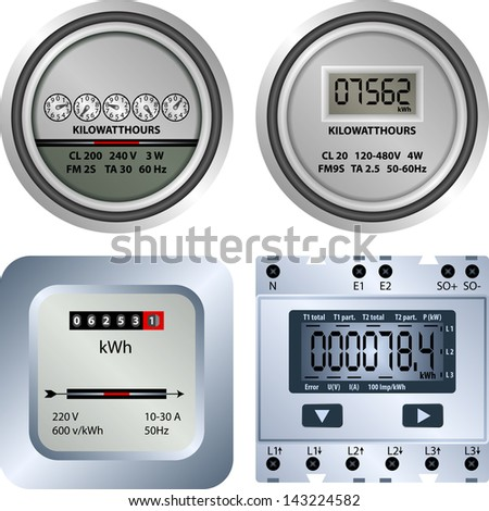 electric meter - stock vector
