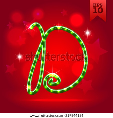 Electric modern green garland christmas new year decorative font capital letter D - stock vector