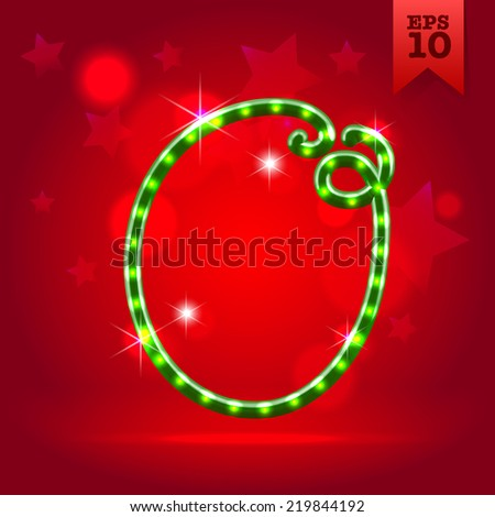 Electric modern green garland christmas new year decorative font capital letter O - stock vector