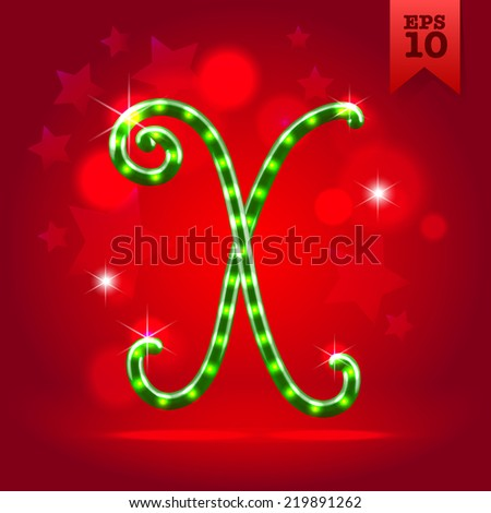 Electric modern green garland christmas new year decorative font capital letter X - stock vector