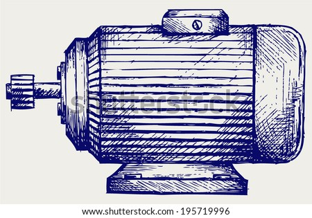 Electric motor. Doodle style - stock vector