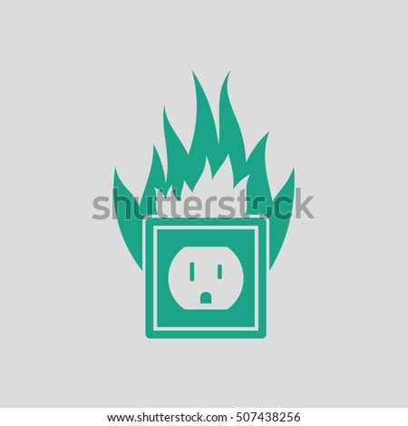 Electric outlet fire icon. Gray background with green. Vector illustration.
