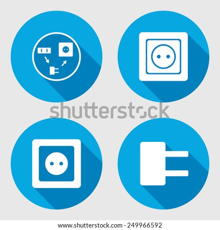 Electric plug and adapter sign set. Power energy symbol. Round circle flat icon with long shadow. Vector - stock vector