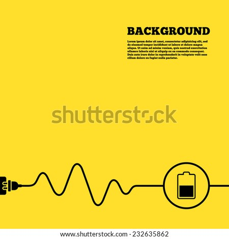 Electric plug background. Battery half level sign icon. Low electricity symbol. Yellow poster with black sign and cord. Vector - stock vector