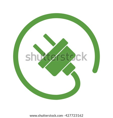 electric plug, ecology green icons set on white background - stock vector