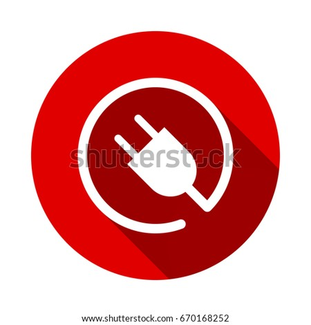 electric plug icon isolated on red background with long shadow. flat icon