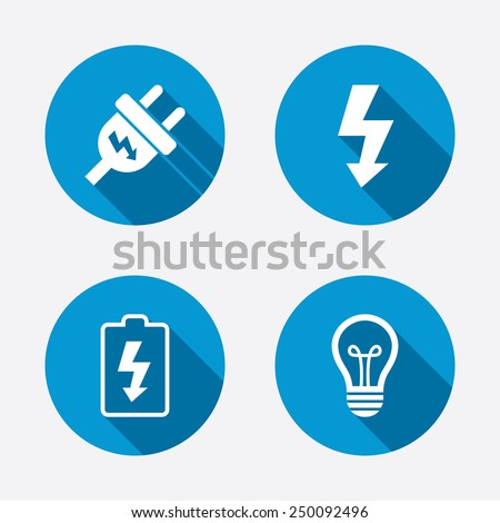 Electric plug icon. Lamp bulb and battery symbols. Low electricity and idea signs. Circle concept web buttons. Vector - stock vector