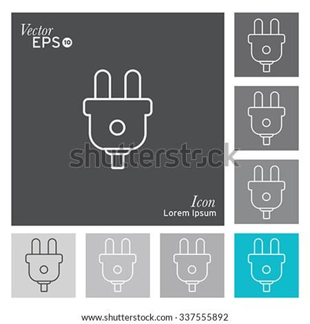 Electric plug icon - vector, illustration. - stock vector