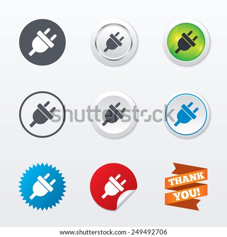 Electric plug sign icon. Power energy symbol. Circle concept buttons. Metal edging. Star and label sticker. Vector - stock vector