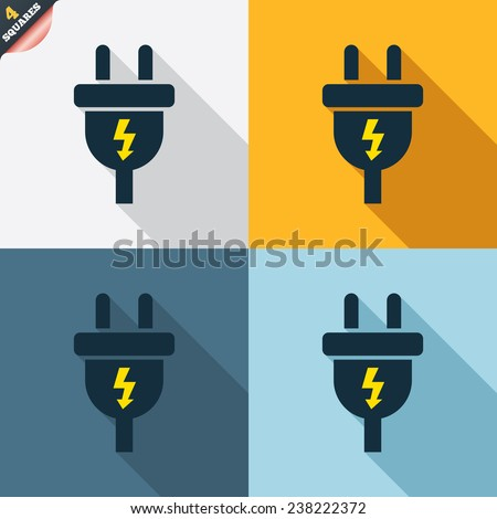 Electric plug sign icon. Power energy symbol. Lightning sign. Four squares. Colored Flat design buttons. Vector - stock vector