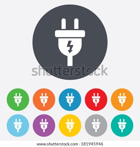 Electric plug sign icon. Power energy symbol. Lightning sign. Round colourful 11 buttons. Vector - stock vector